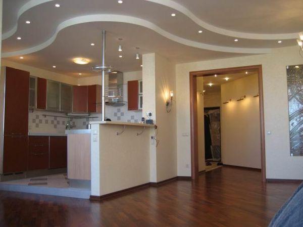 Потолок из гипсокартона на кухне своими руками 168